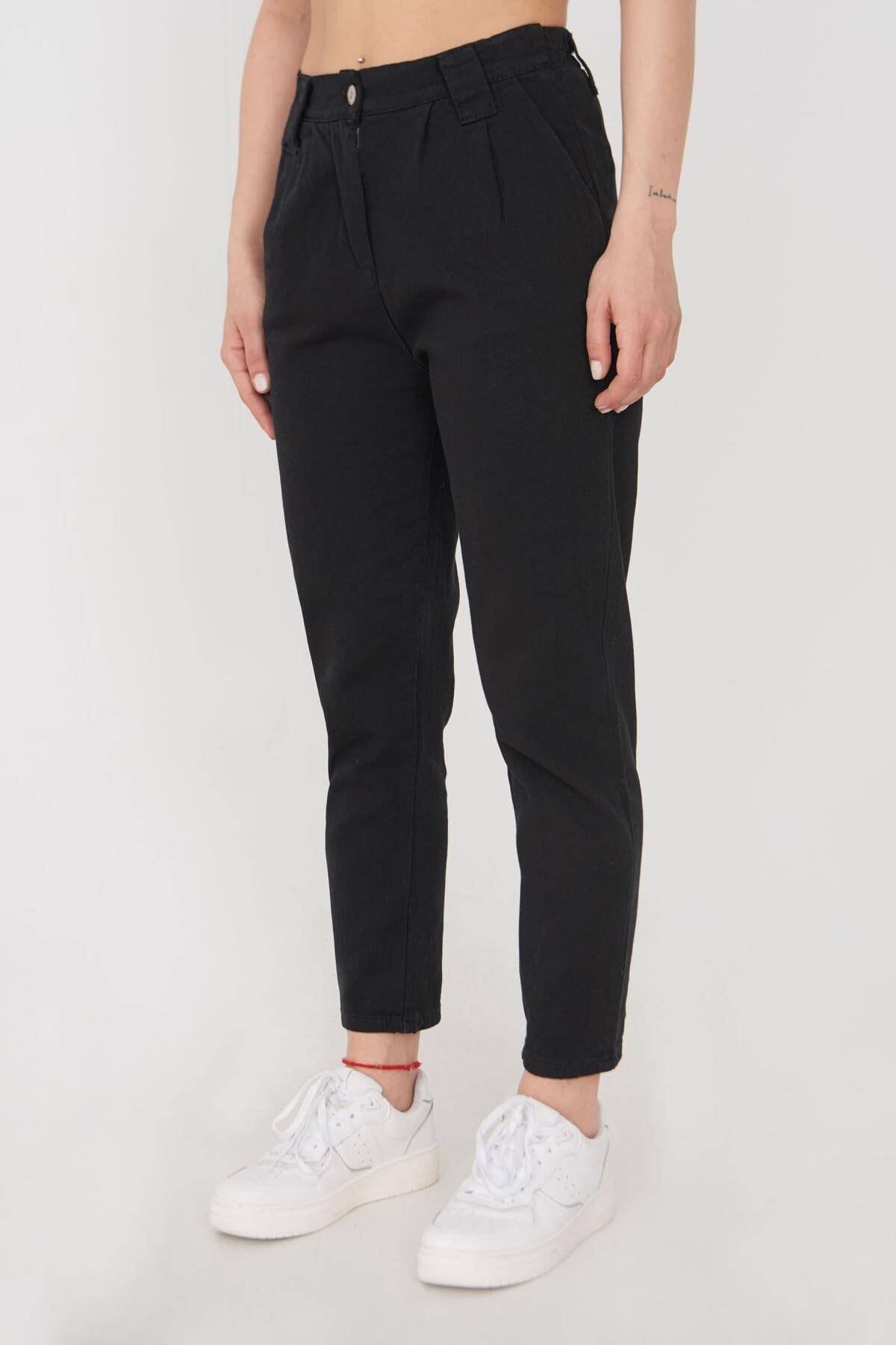 Addax Kadın Siyah Cep Detaylı Pantolon Pn4396 - G4 Adx-0000023917 1