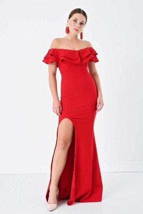 Volanlı Abiye Elbise AMBRYL1807MKSP