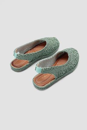 Limoya Yeşil Örgü Detaylı Triko Sandalet 3