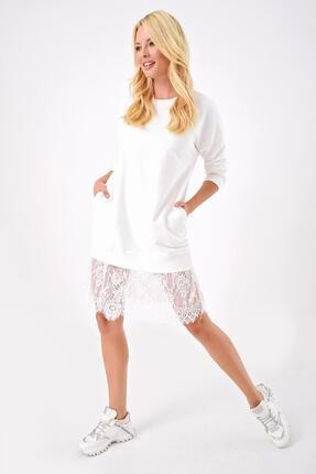 Beyaz Dantel Detaylı Sweatshirt EMZHMV5460MKSP