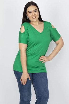 Şans Kadın Yeşil Omuz Dekolteli Viskon Bluz 65N22698 3