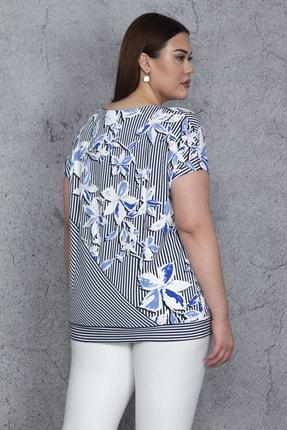 Şans Kadın Mavi Düşük Kol Bel Yan Bağlamalı Çizgi Ve Çiçek Baskılı Viskon Bluz 65N23844 4