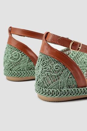 Limoya Kadın Yeşil Örgü Detaylı Triko Bilekten Baretli Sandalet 4