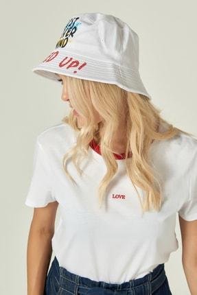 Y-London 13239 Baskı Detaylı Beyaz Bucket Şapka 1