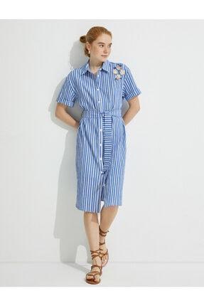 Kadın Gömlek Yaka Kusakli Elbise 1YAK83366EW