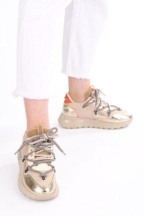 Marjin Kadın Altın Dolgu Topuk Spor Ayakkabı Sneaker 1