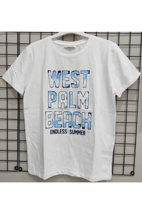 NK West Palm Mavi Yazılı Tişört 0