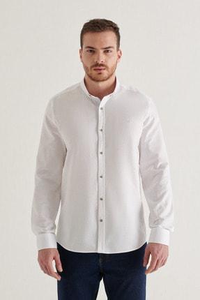 Avva Erkek Beyaz Düz Düğmeli Yaka Regular Fit Gömlek A11y2026 0
