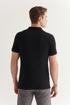Avva Avva Erkek Siyah Polo Yaka Düz T-Shirt E001004 3