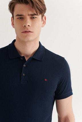 Avva Erkek Lacivert Polo Yaka Düz T-shirt E001004 2