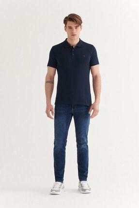 Avva Erkek Lacivert Polo Yaka Düz T-shirt E001004 3