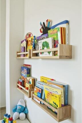 NO:5 Furniture Design Bej Montessori Çocuk Odası Duvar Rafı Ahşap Kitaplık Raf 4 Adet 0