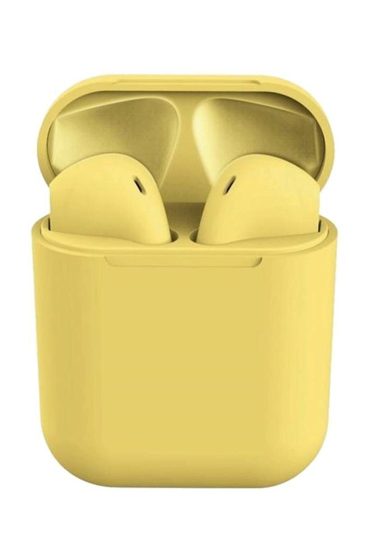 I12 Sarı Iphone Android Universal Bluetooth Kulaklık Hd Ses Kalitesi