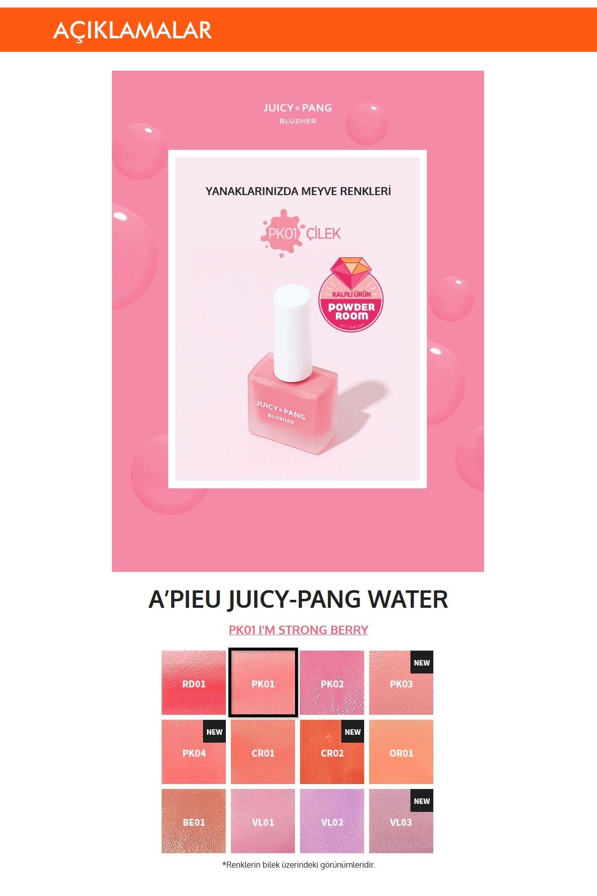 Missha Doğal Görünüm Sunan Nemlendirici Likit Allık 9g. APIEU Juicy-Pang Water Blusher (PK01) 1