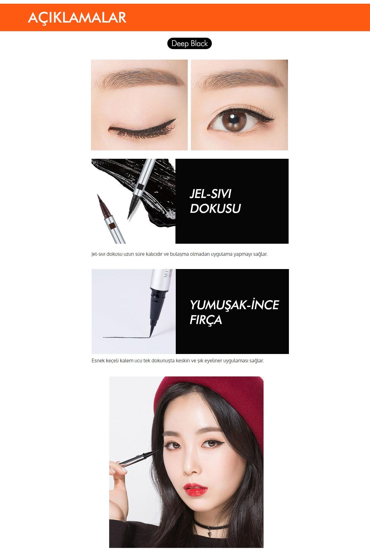 Missha Kalıcı & Kadife Uçlu Eyeliner Vivid Fix Marker Pen Liner (Deep Black) 1
