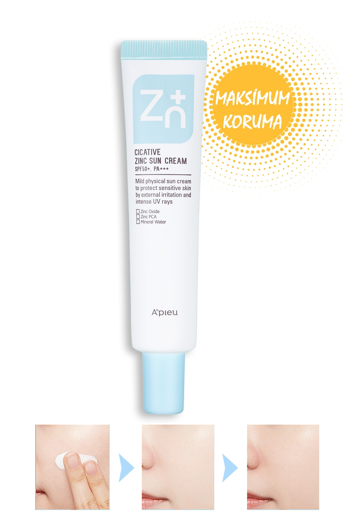 Çinko İçerikli Mineral Güneş Koruyucu SPF50+/PA++++ 40g APIEU Cicative Zinc Sun Cream SPF50+/PA++++