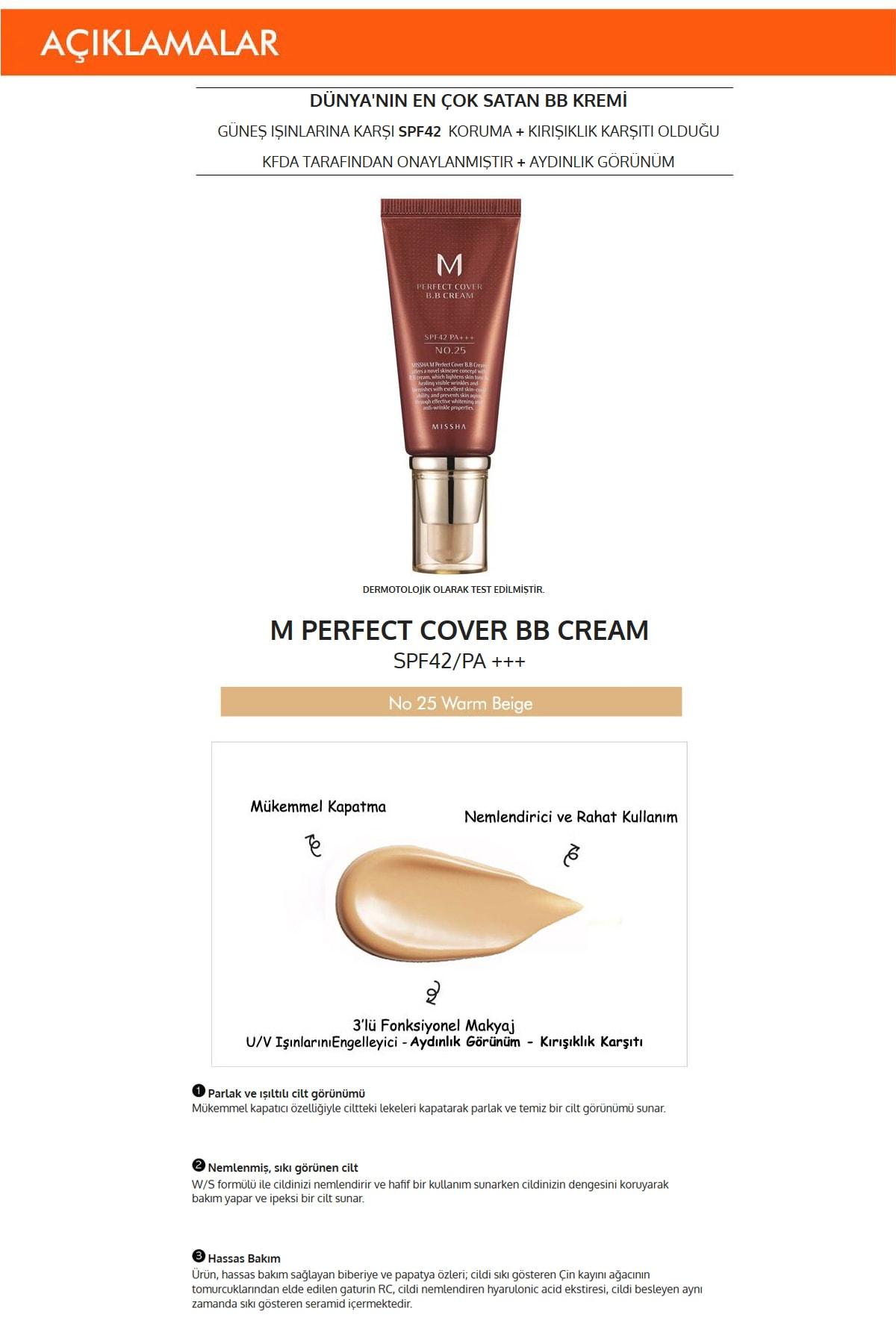 Missha Yoğun Kapatıcılık Sunan Nemlendirici BB Krem 50ml  M Perfect Cover BB Cream SPF42/PA+++ No: 25 1