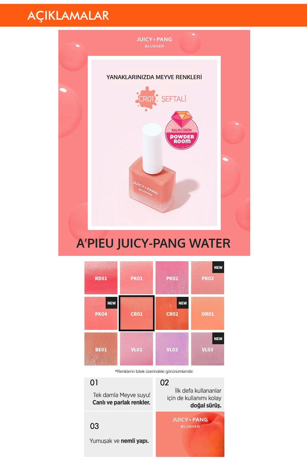 Missha Doğal Görünüm Sunan Nemlendirici Likit Allık 9g. APIEU Juicy-Pang Water Blusher (CR01) 1