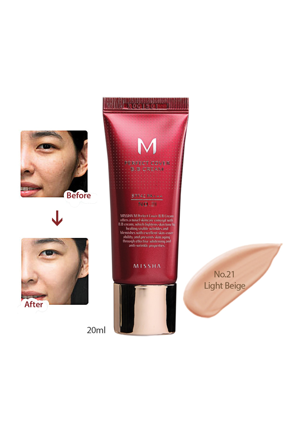 Missha Yoğun Kapatıcılık Sunan BB Krem M Perfect Cover BB Cream SPF42/PA+++ No: 21 ( 20 ML ) 0