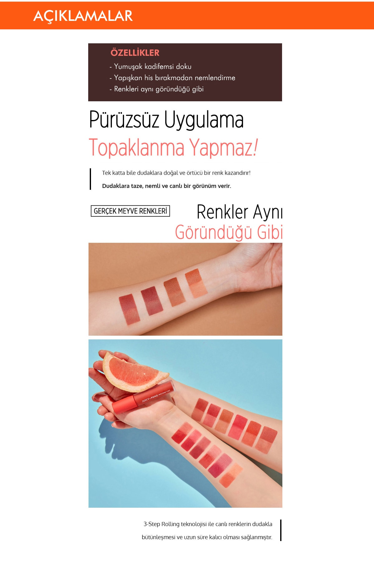 Missha Pürüzsüz Görünüm Sunan Kalıcı Köpük Tint  Ruj APIEU Juicy Pang Mousse Tint (CR03) 3