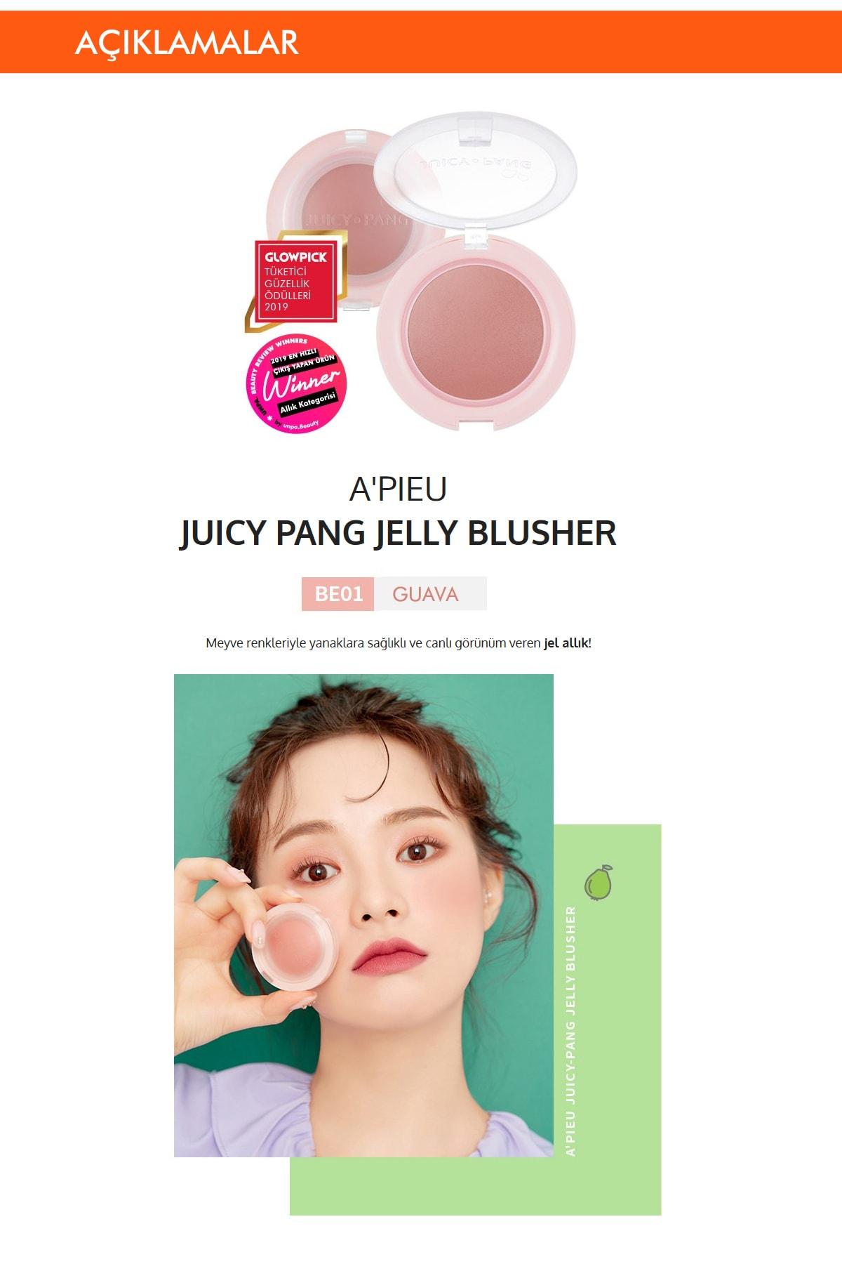 Missha Meyve Tonlarında Doğal Görünümlü Jel Allık APIEU Juicy-Pang Jelly Blusher (BE01) 1