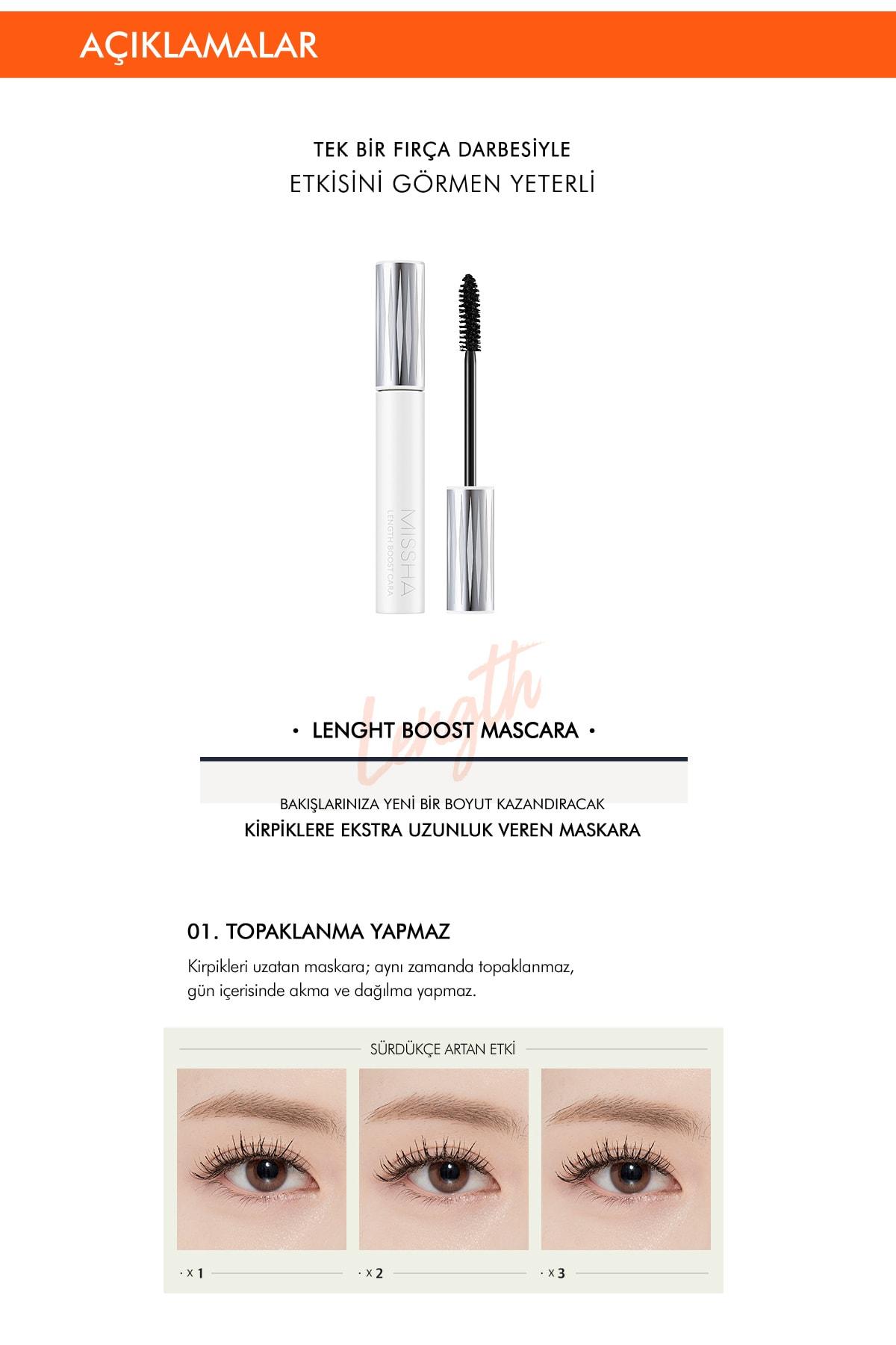 Missha Kısa Kirpikler için Uzunluk Sağlayan Maskara 8.5g MISSHA Lenght Boost Mascara 1