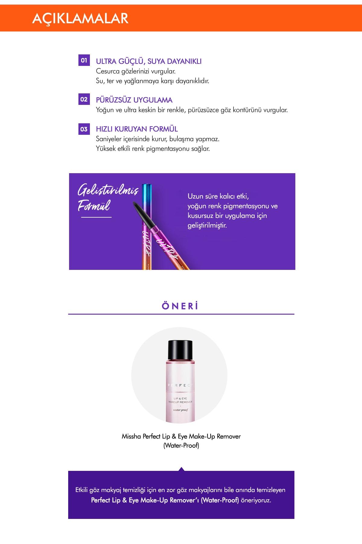 Missha Suya Dayanıklı Kalıcı Jel Göz Kalemi Ultra Powerproof Pencil Eyeliner [Black] 2