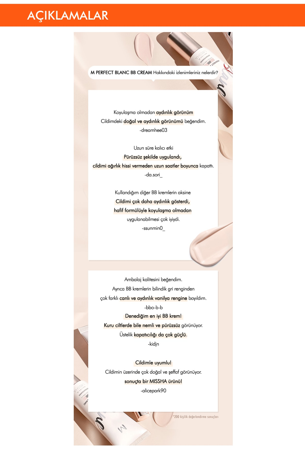 Missha Ton Eşitleyen Aydınlatıcı BB Krem Seti 40ml+1pcs M Perfect Blanc BB Special Gift Set (Vanilla/No.23) 4