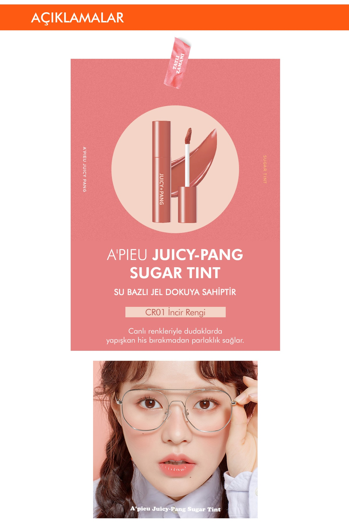 Missha Uzun Süre Kalıcı Parlak Su Bazlı Jel Tint APIEU Juicy-Pang Sugar Tint (CR01) 2