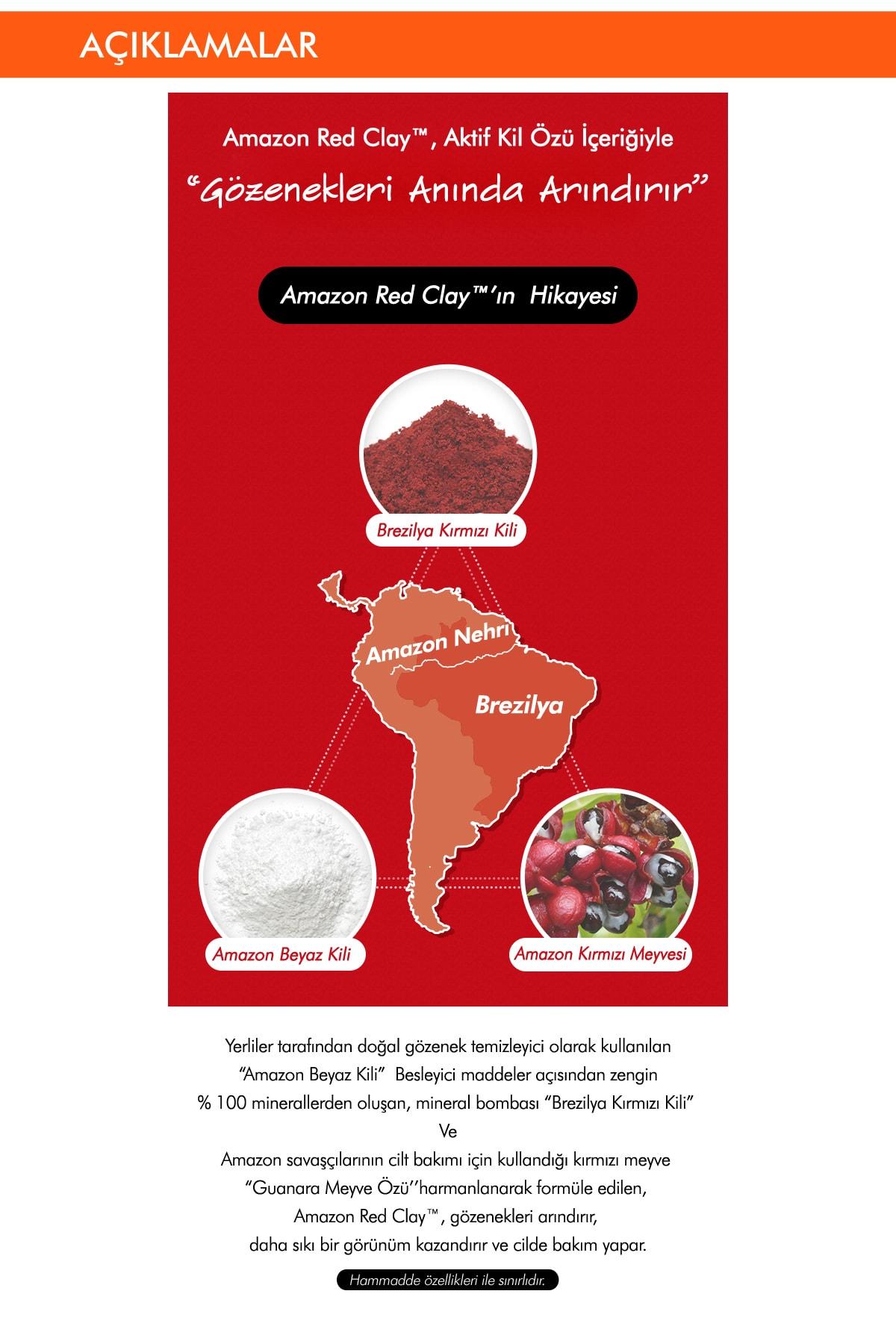 Missha Gözenekli Ciltler İçin Amazon Kili Temizleyici 120ml Amazon Red Clay Pore Pack Foam Cleanser 3