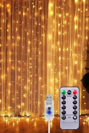TechnoSmart Peri Telli Perde Led Işık Kumandalı 300 Ledli 3 X 3 Metre Usb'li 8 Animasyonlu Günışığı 3