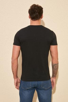 TRENDYOL MAN Siyah Basıc Erkek Slim Fit Pamuklu Kısa Kollu Bisiklet Yaka T-Shirt TMNSS19BO0001 3