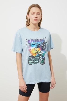 Picture of Açık Baskılı Boyfriend Örme T-Shirt TWOSS21TS3174