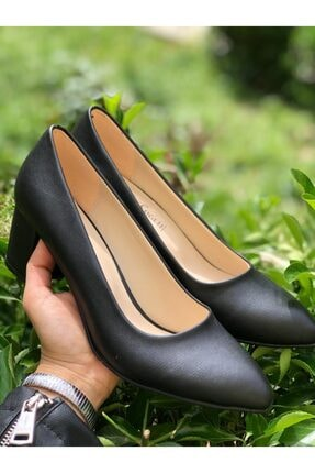 41-42 Büyük Numara Siyah Kadın Topuklu Ayakkabı GMSTPKL05
