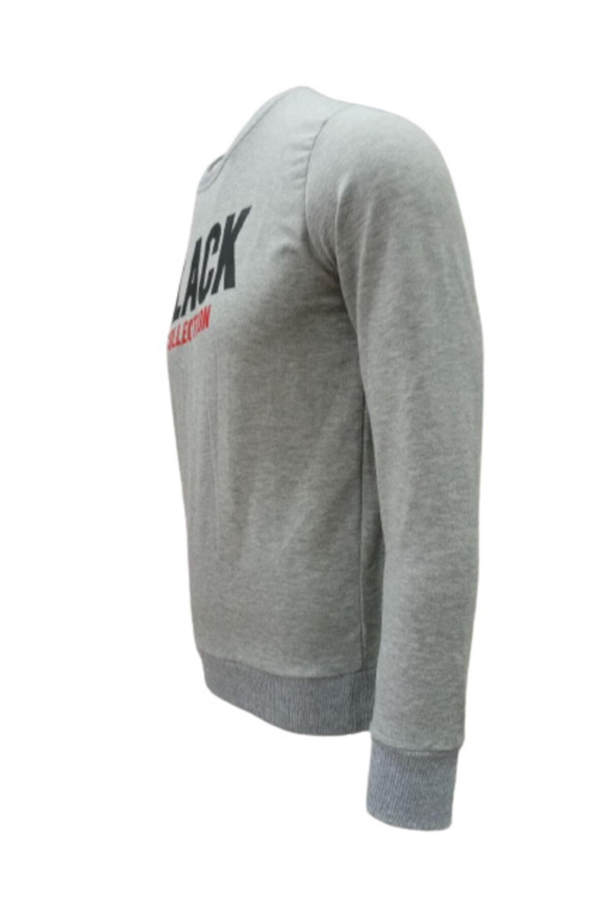 BOSS MİLANO Erkek Gri Sweatshirt Slim Fit (DAR KALIP)