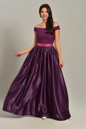 Kadın Mor Saten Tasarım Abiye Elbise EMZHMV3272MKSP