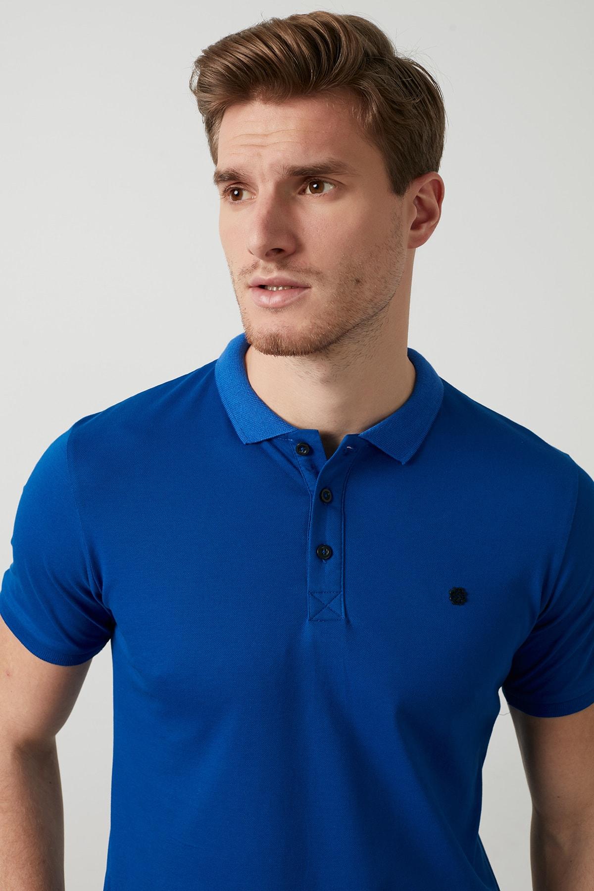 Buratti Erkek Parlıament Mavisi Düğmeli Polo Yaka Standart Fit Pamuklu T Shirt 0438101 2