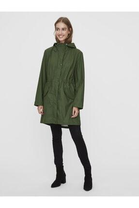 Vero Moda Kadın Yeşil Kapüşonlu Büzgülü Yağmurluk 4