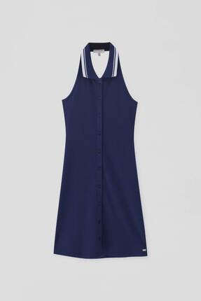 Pull & Bear Kadın Lacivert Fitilli Yaka Polo Elbise 4