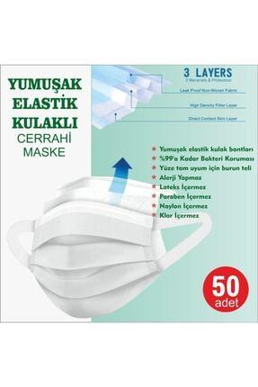 LASERA Yeşil Yumuşak Elastik Kulaklı Yeni Nesil Maske 50 Adet 0