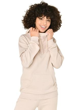 bilcee Krem Kadın Kapüşonlu Sweatshirt Iw-9041 1