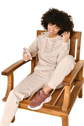 bilcee Krem Kadın Kapüşonlu Sweatshirt Iw-9041 2