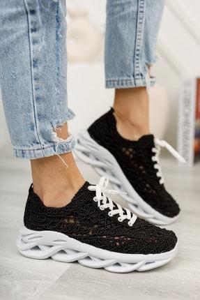 meyra'nın ayakkabıları Kadın  Siyah Dantelli Spor Ayakkabı 1
