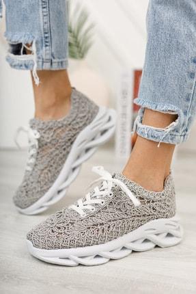 meyra'nın ayakkabıları Kadın  Gri Dantelli Spor Ayakkabı 2