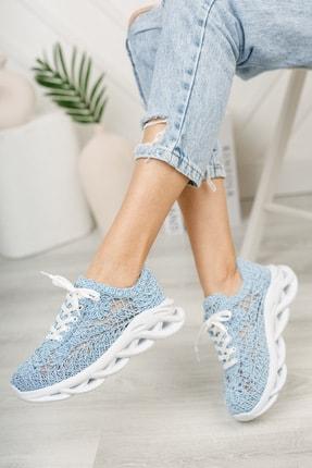 meyra'nın ayakkabıları Kadın  Mavi Dantelli Spor Ayakkabı 1