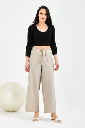 Gentekstil Kadın Bej Bel Lastikli Rahat Kesim Pantolon 1
