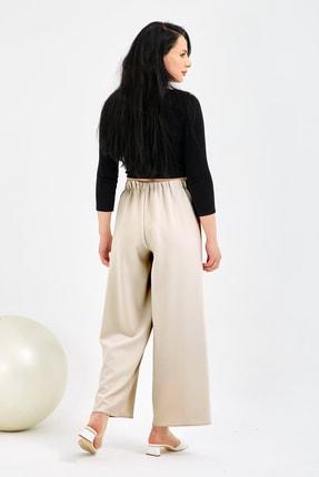 Gentekstil Kadın Bej Bel Lastikli Rahat Kesim Pantolon 2