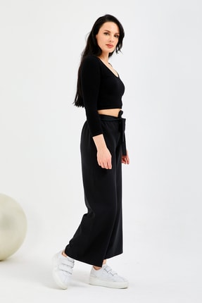 Gentekstil Genplus Kadın Siyah Bel Lastikli Rahat Kesim Pantolon 1