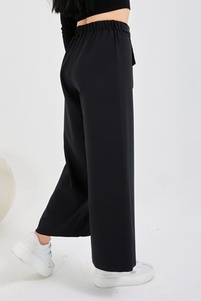Gentekstil Genplus Kadın Siyah Bel Lastikli Rahat Kesim Pantolon 2