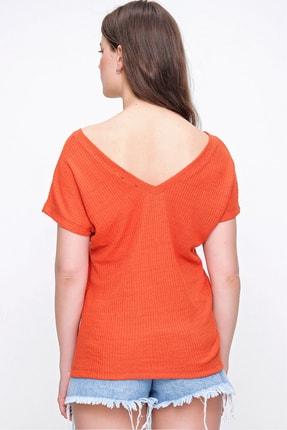 Trend Alaçatı Stili Kadın Mercan Arka Ön V Yaka Merserize Fitilli Bluz ALC-019-029-001 2
